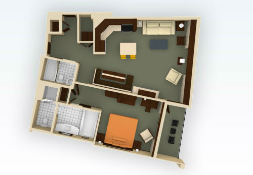 Floorplan of the DVC Bay Lake Tower 1 Bedroom Villa