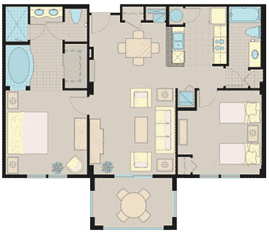 Floorplan of the 2 Bedroom Suite at the Lake Buena Vista Village Resort and Spa in Orlando Fl
