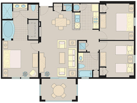Floorplan of the 3 Bedroom Suite at the Lake Buena Vista Village Resort and Spa in Orlando Fl