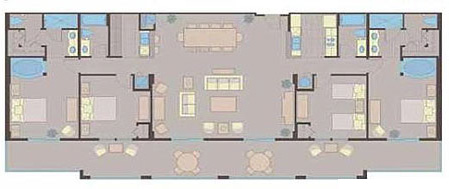 Floorplan of the 4 Bedroom Suite at the Lake Buena Vista Village Resort and Spa in Orlando Fl