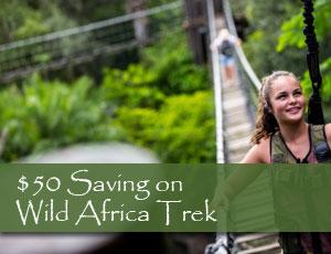 Walking across a rope bridge during the Wild Africa Trek at Animal Kingdom in Orlando Fl