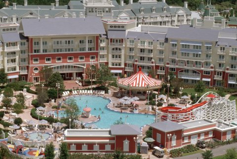 Pool View and Water Slide at Disney Boardwalk Inn Orlando Florida