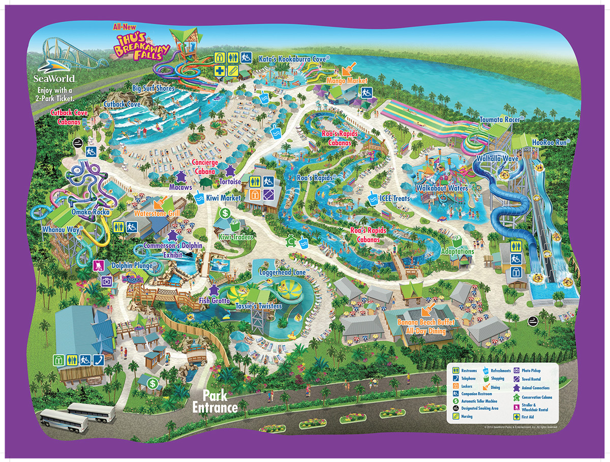 Overview of the entire Aquatica Water Park with Park Map