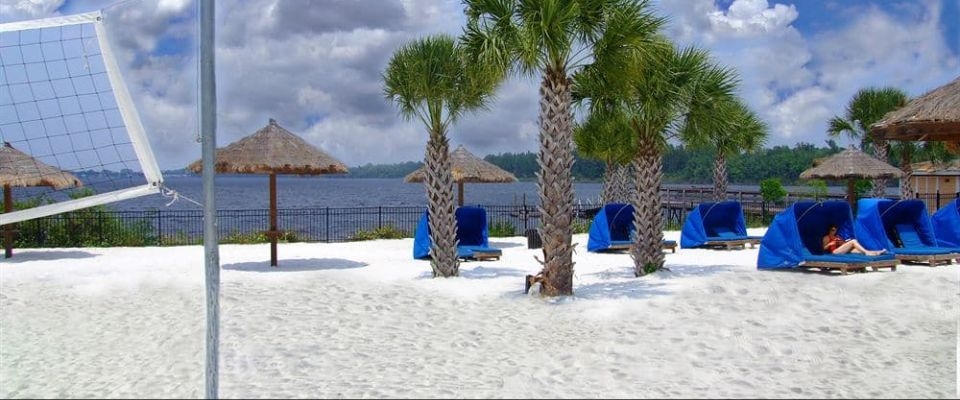 View of the White Sandy Beach and Sand Volleyball Court at the Bahama Bay Resort in Orlando