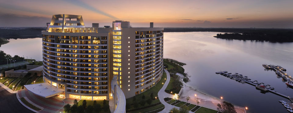 Beautiful evening view of the Disney Bay Lake Tower overlooking the lake wide