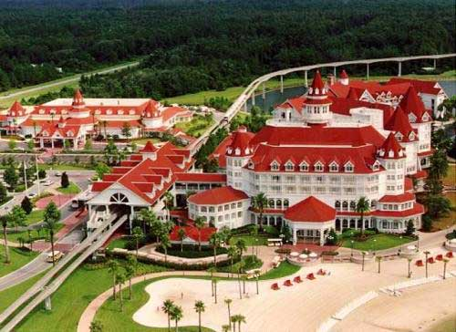 Top View of Disney Grand Floridian Resort with Beach Area