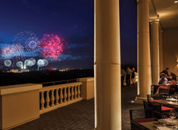 View of the Outside Dining while watching the Fireworks at Capa Restaurant Four Seasons Orlando Fl