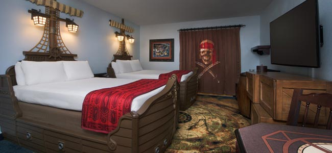Disney Caribbean Beach Resort Pirate Room with Beds made like Pirate Ships