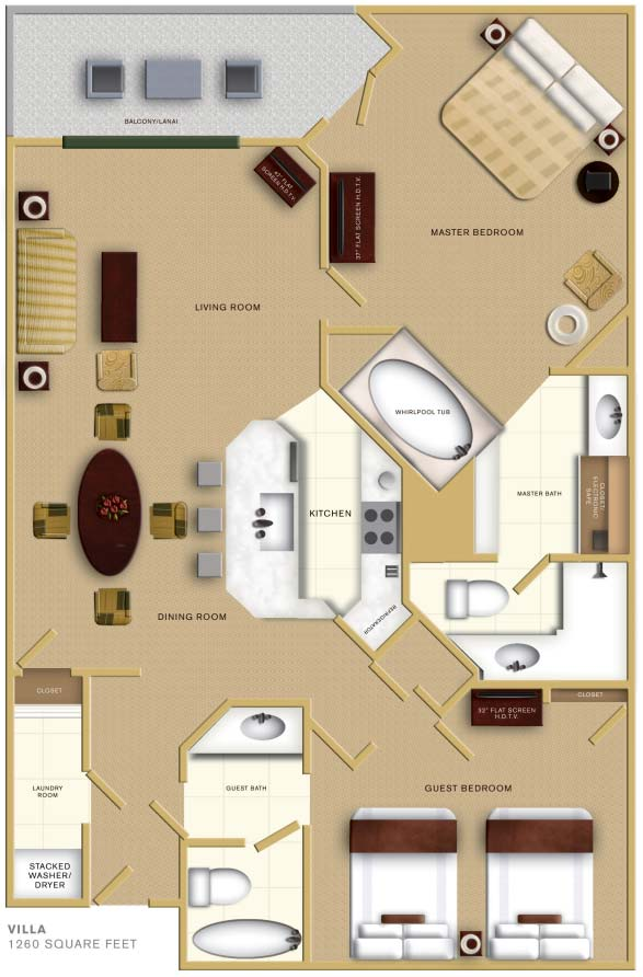 Floorplan of the Villas at the Caribe Royale Orlando