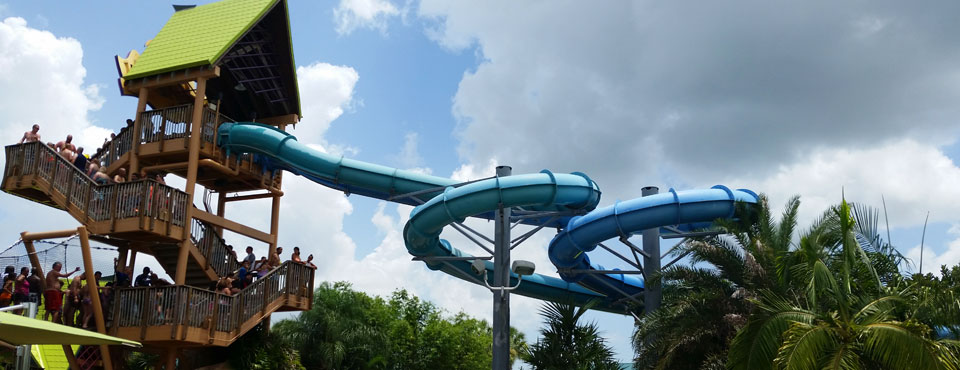 View of the tower at the start of the Commerson Dolphin Water Slide at SeaWorld Aquatica in Orlando wide