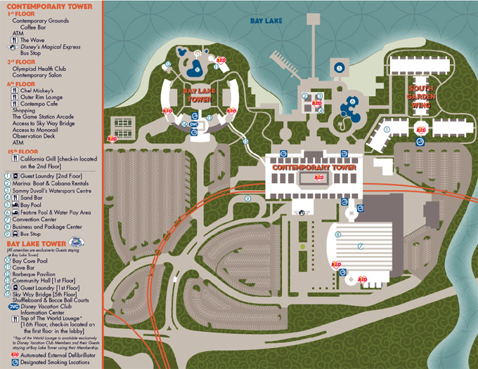 Map of the Bay Lake Tower and the Contemporary Resort Grounds