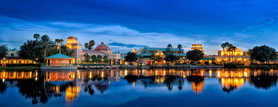 View of the Disney Coronado Springs Resort from the Water in the evening when the lights are on 960