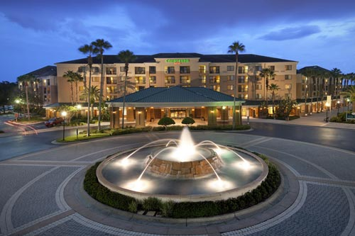 The Entrance to the Courtyard Lake Buena Vista at the Marriott Village in Orlando Fl