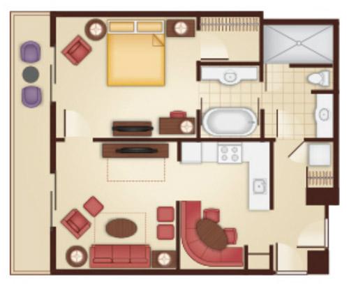 Floorplan of the 1 Bedroom Villa at the Grand Floridian. Disney Grand Floridian Villas   Disney World Orlando Fl
