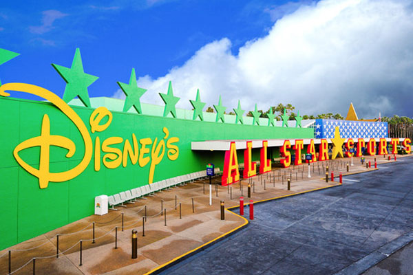 View of the entrance and bus station in front of the Disney All Star Sports Resort in Disney World 600