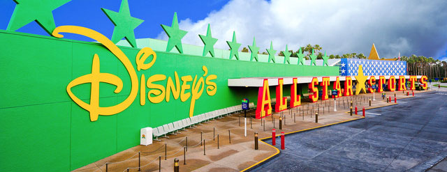 View of the entrance and bus station in front of the Disney All Star Sports Resort in Disney World 640 wide