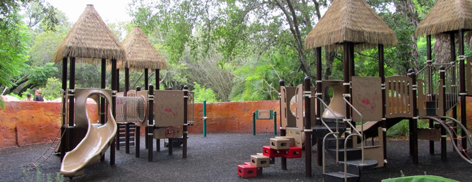View of the Hakuna Matata Playground with Slides and climbing areas at the Disney Animal Kingdom Lodge at Disney World
