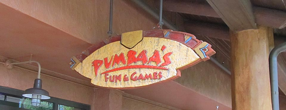 Sign at the entrance of the Arcade room, Pumbaa's Fun and Games at the Disney Animal Kingdom Lodge at Disney World