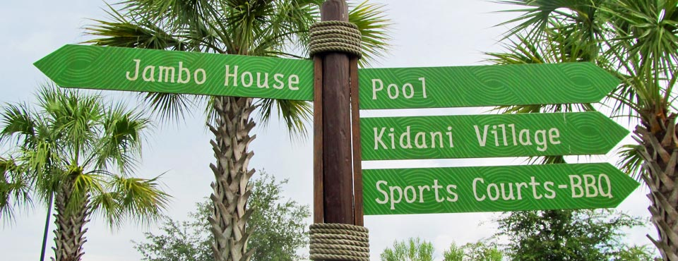 Sign at the Animal Kingdom Lodge in Disney World pointing to Jambo House and Kidani Village