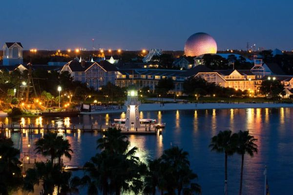 Disney Beach Club across the lake Epcot in Background