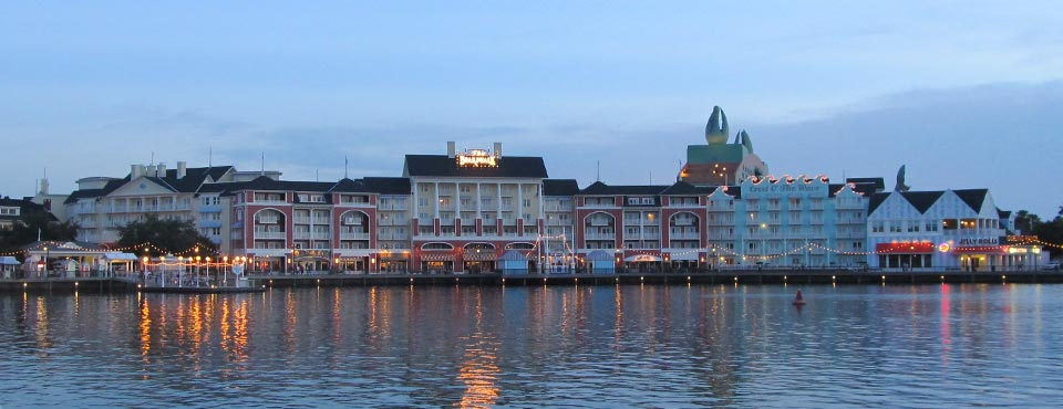 View of the Disney Boardwalk Inn from across the lake with great view of the water 960
