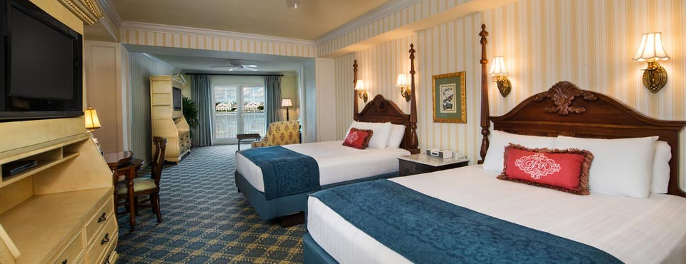 View of a Deluxe Room layout at the Disney Boardwalk Inn