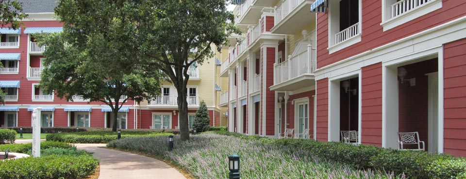 View of the Disney Boardwalk Inn DVC 4 story Villas and Courtyard 960