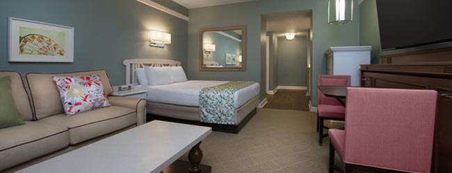 View of the Living Space and Bedroom in one of the Deluxe Studios at the Disney Boardwalk Inn Vacation Club Villas
