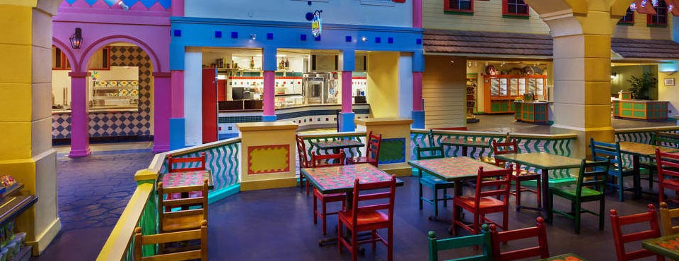 Dining is a wonderful experience with the vibrant colors all around you at the Disney Caribbean Beach Resort in Orlando