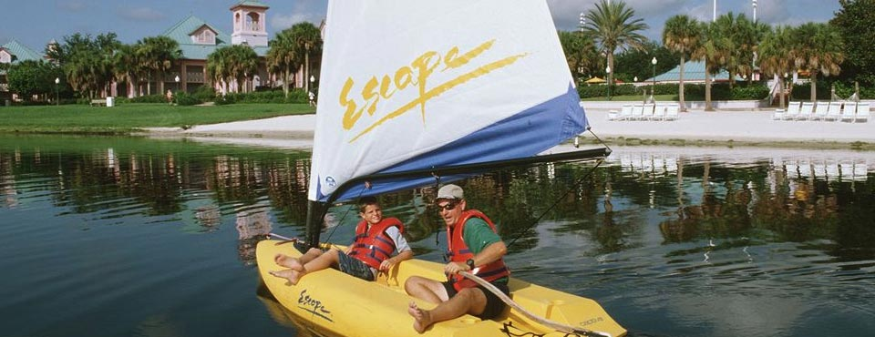 Beautiful Beaches and fun on the water in your very own water craft at the Disney Caribbean Beach Resort in Orlando