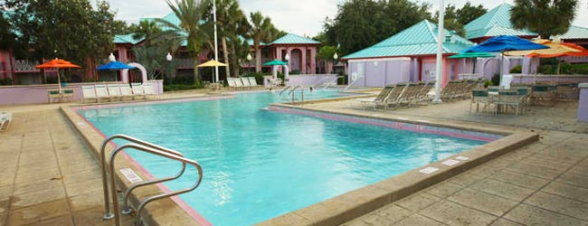 One of the Quiet Pools located at each of the 6 unique sections of the Disney Caribbean Beach Resort in Orlando