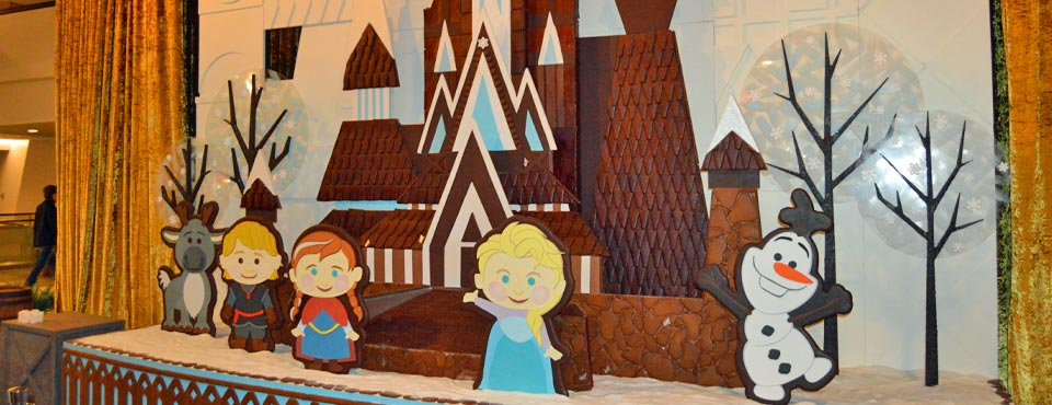It's a small world Frozen Gingerbread Christmas Display in the main atrium of the Disney Contemporary Resort