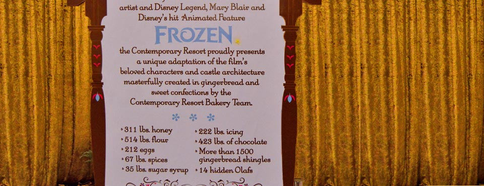 A Large sign located beside the Disney Frozen Gingerbread Christmas Display showing all of the ingredients that make up the display