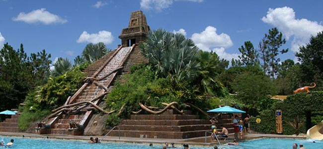 View of the stairs that climb the Great Mayan Temple that Houses the Large Water Slide at Disney Coronado Springs