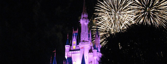 View of the Cinderella Castle at Disney World with Fireworks in the background