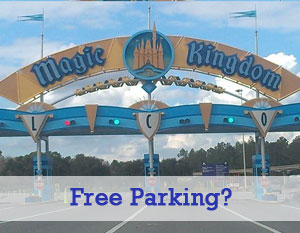 Entrance to the Magic Kingdom with Free Parking Sign