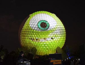 Disney displays Mike Wazowski on Spaceship Earth to announce 24 hour opening