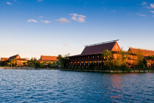 Disney Polynesian Deluxe Resort view from the water
