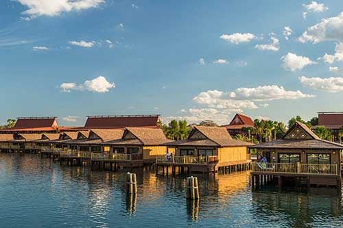 iew of the Bungalows from the water at the Disney Polynesian DVC