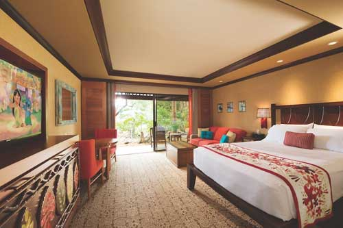 View of the Bedroom and Liviing area of one of the Studio Villas at the Disney Polynesian DVC