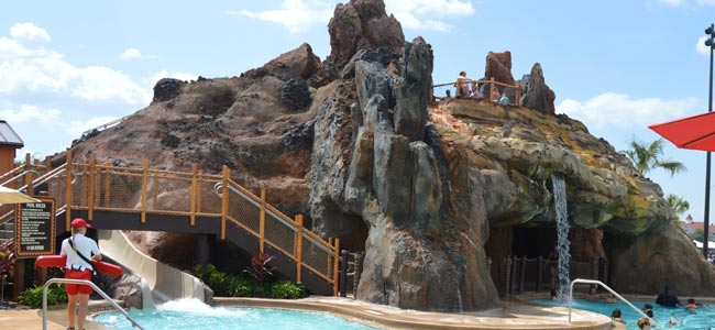 View of the Volcano Pool and the Seven Seas Lagoon in the background