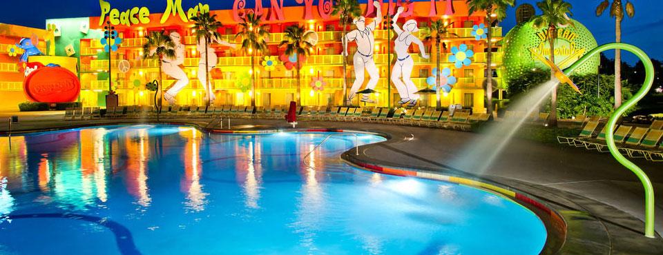 Disney Pop Century Hippy Dippy Pool with Flower spraying water wide