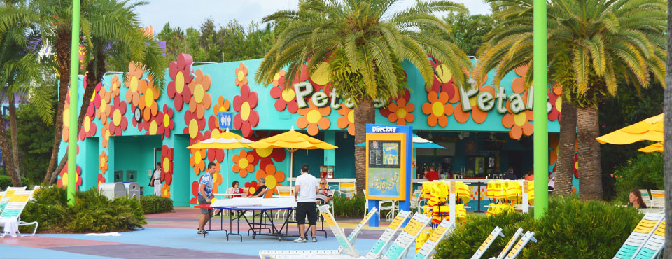 Petals Pool Bar at the main pool at Disney Pop Century Value Resort wide