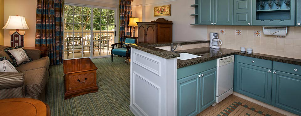 View of the Kitchen and Living area Disney Saratoga Springs Resort Bedroom Villa 960