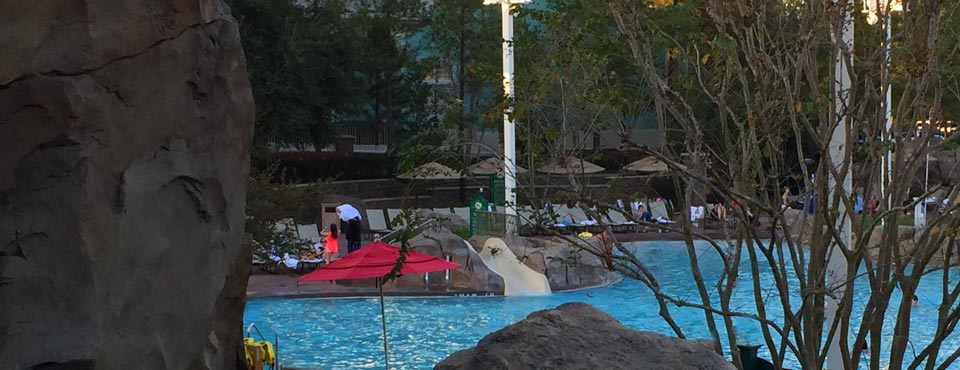 View of the pool and small kids slide at the Disney Saratoga Springs Resort 960
