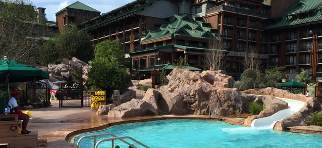 Water slide flowing in to the Silver Creek Springs Pool at the Disney Wilderness Lodge