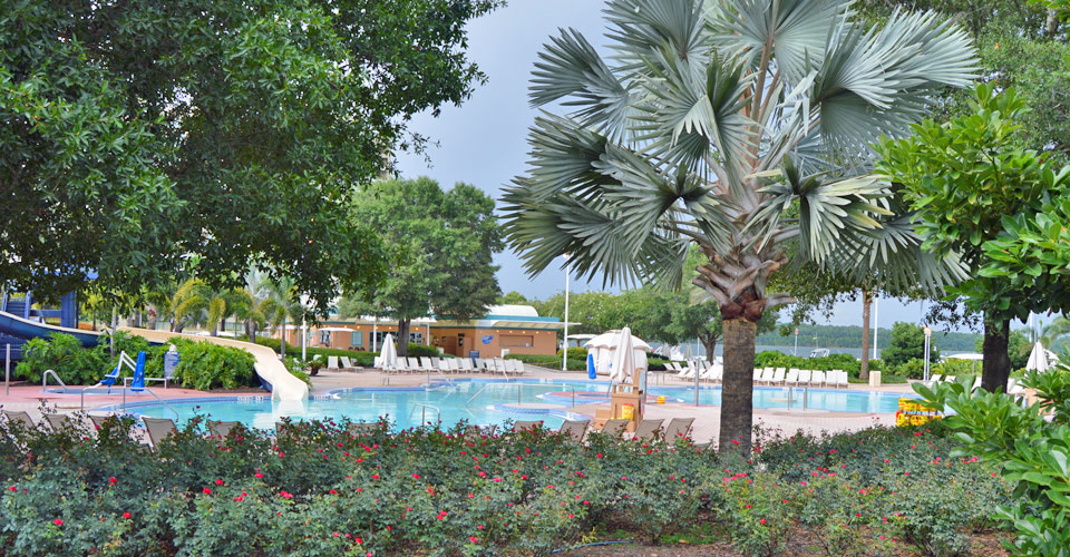 View of the main pool with water slide at the Disney Contemporary Resort 960