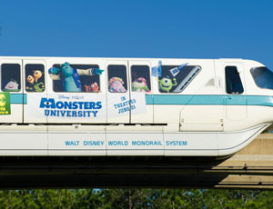 Monorail at Walt Disney World Sporting Monsters University Graphics