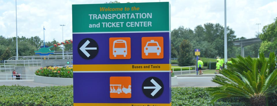 The Welcome Sign at the Entrance to the Disney World Transportation and Ticket Center in Orlando