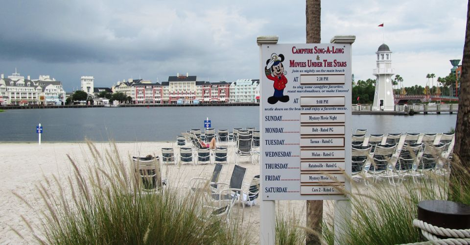 View of the Beach and Lake at the Disney Yacht and Beach Club Stormalong Bay Water Park